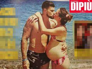 Micol Olivieri e il marito Christian Massella: dolce attesa al bacio
