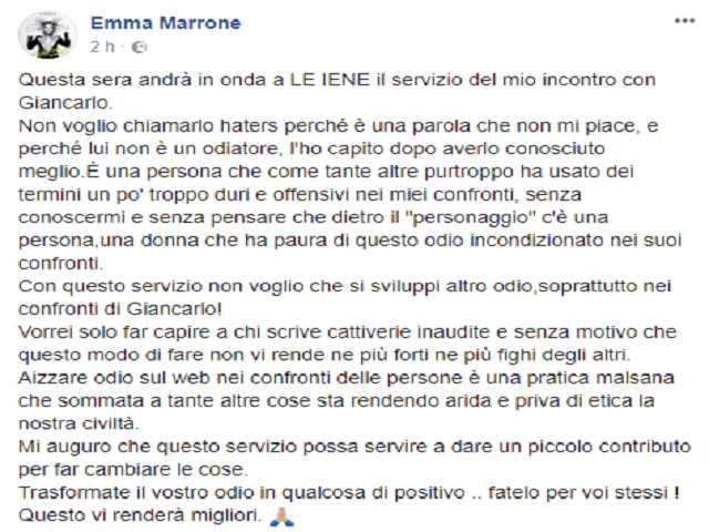 Emma Marrone ai suoi haters: