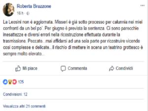 Foto del post di Roberta Bruzzone su Facebook (attacco a Franca Leosini)