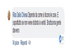 Foto commento Dalla Chiesa su Facebook