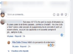 Foto commento di Rita Dalla Chiesa su Facebook
