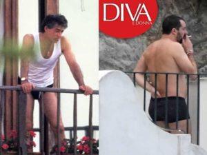 Foto di Matteo Salvini in boxer durante la vacanza ad Ischia con Elisa Isoardi