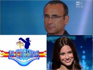 Foto conduttore, valletta e logo La Corrida 2018