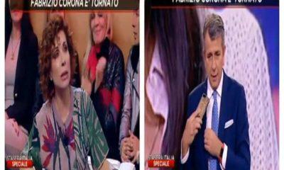 Foto Corona al telefono contro Alda D'Eusanio a Stasera Italia