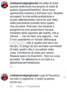 Foto post Instagram Malgioglio sponsor GF 2018