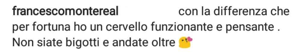 Francesco monte commento social