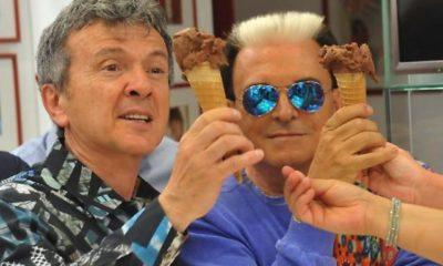 malgioglio e pupo insieme gelato al cioccolato
