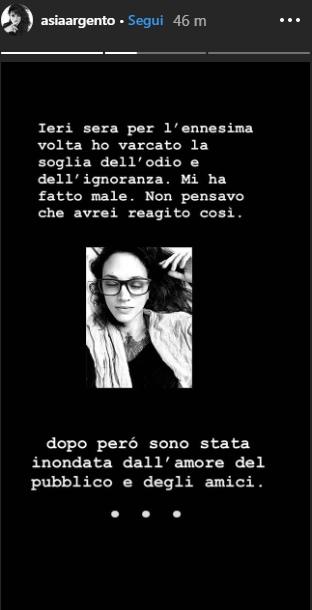 Asia Argento, lo sfogo su Instagram