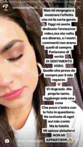 teresa langella, lacrime storia instagram
