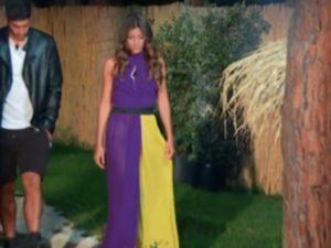 temptation island vestito viola e giallo