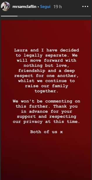 Sam Claflin annuncio separazione moglie