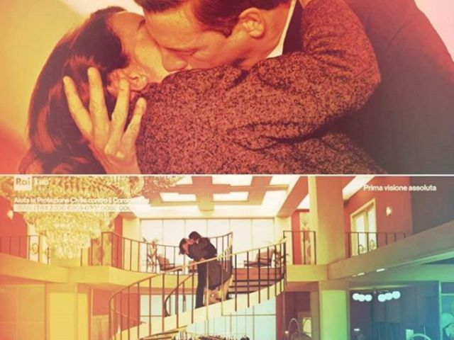 luciano e clelia si baciano sulla scala