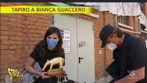 Gaffe Bianca Guaccero, Tapiro di Striscia: reazione ed esila