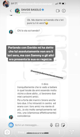 davide basolo instagram commento sammy