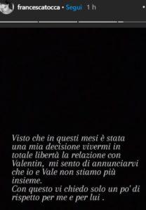 Finita la storia tra Valentin e Francesca Tocca
