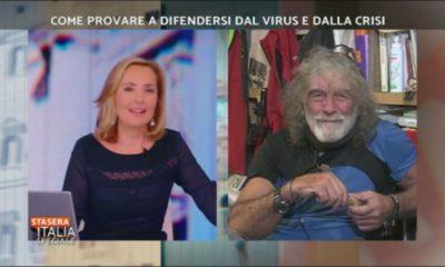 Mauro Corona e Barbara Palombelli a Stasera Italia
