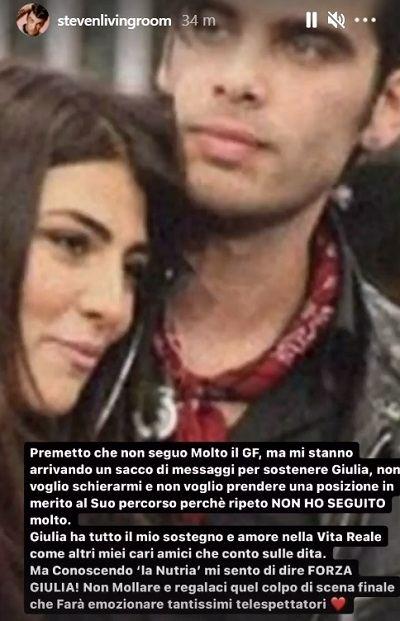 Stefano Sala, il post per Giulia Salemi
