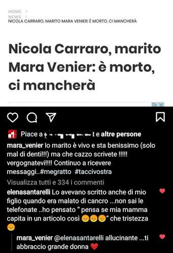 mara venier sfogo instagram