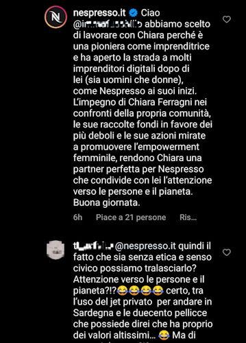 nespresso commenti instagram