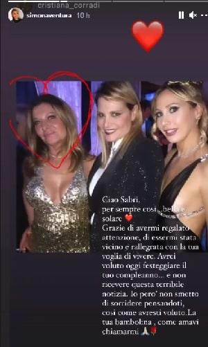 Simona Ventura Sabrina morta