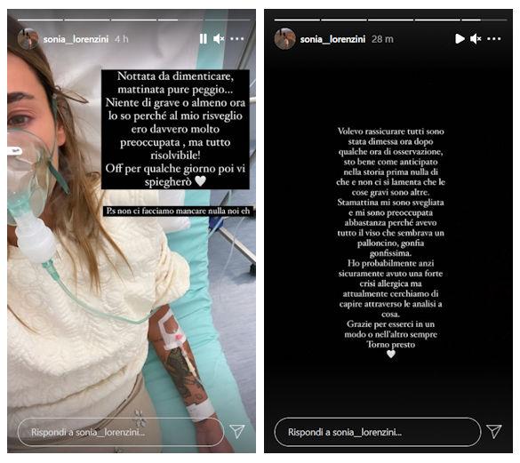 sonia lorenzini messaggio instagram